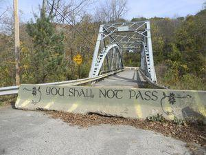 Someone found an artistic way to remind drivers that the bridge over the Housatonic River that stretches from the Amesville section of Salisbury to Falls Village is closed. The deteriorating span has been shut down for more than a year as the two towns grapple with how to replace it. The latest word from the state was that the one-lane bridge would have to be expanded to two lanes when it's redone. Ruth Epstein Republican-American